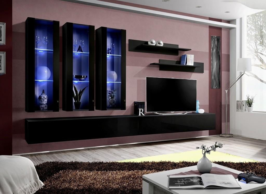 Obývací stěny Fly E3 Stěna, 3x vitrína, 2x police, RTV (černý mat/černý lesk)