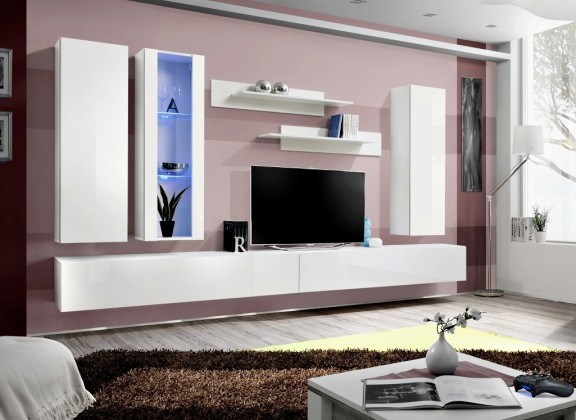 Obývací stěny Fly E4 Stěna, vitrína, 2x skříň, 2xpolice (bílý mat/bílý lesk)
