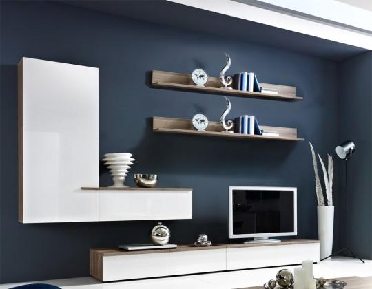 Obývací stěny Linea - Obývací stěna (dub tmavý HN/bílá HG/ dub tmavý HN)