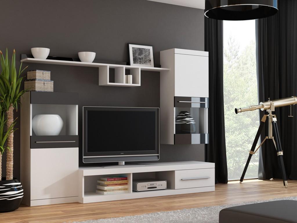 Obývací stěny Nick - Obývací stěna (bílá/bílá,černá lesk)