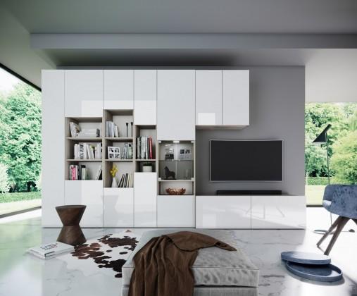 Obývací stěny Obývací stěna Arnave (sonoma arwen/bílý lesk)