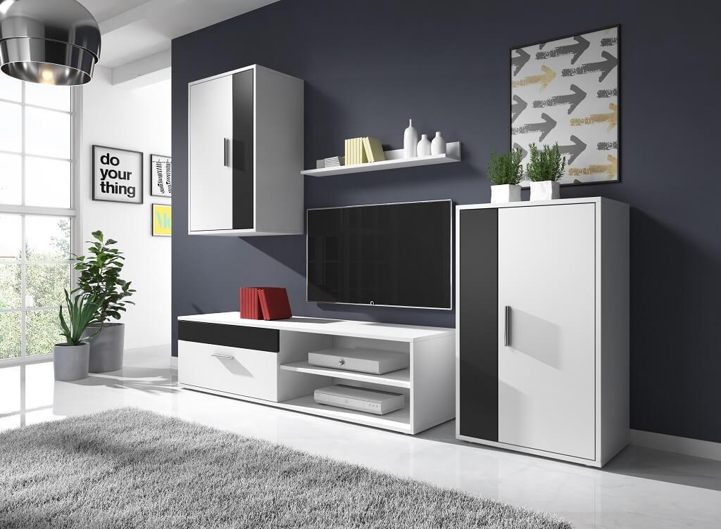 Obývací stěny Obývací stěna Erin (bílý/černý mat)