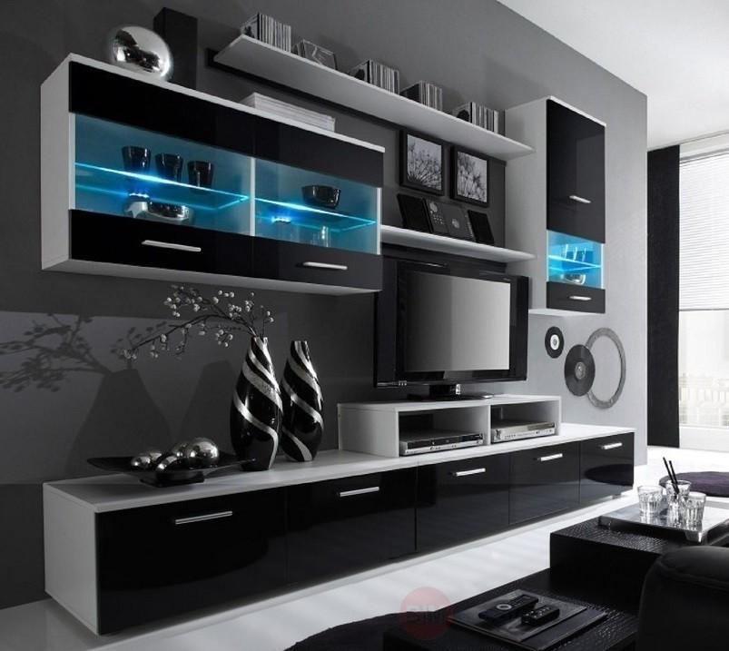 Obývací stěny Obývací stěna Logo II (bílá/černá lesk)