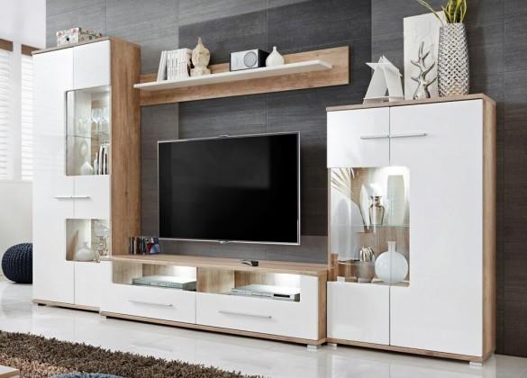 Obývací stěny Obývací stěna Saala 2 (dub monument korpus/bílý lesk fronty)
