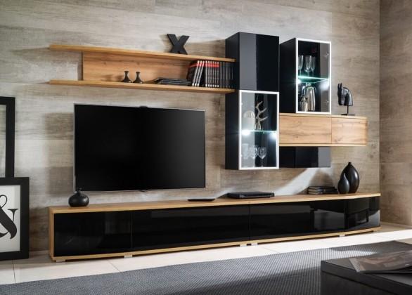 Obývací stěny Obývací stěna Samaris (dub wotan, černá)