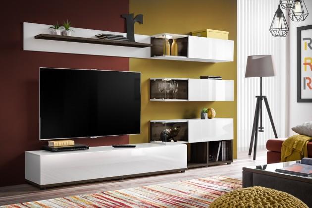 Obývací stěny Obývací stěna Silk (bílá, perla elm)