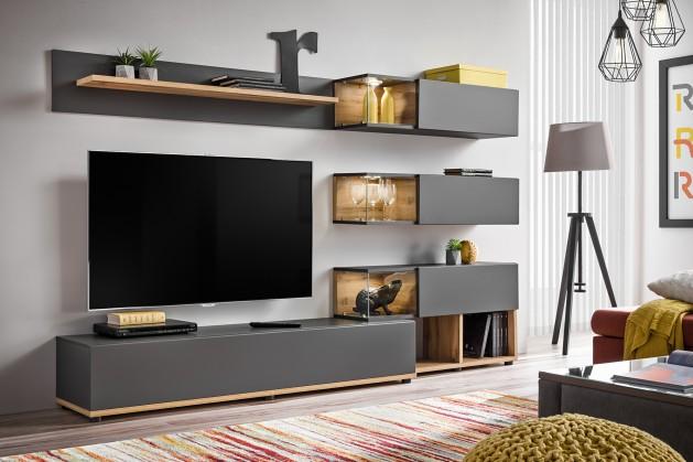 Obývací stěny Obývací stěna Silk (dub wotan/šedá)