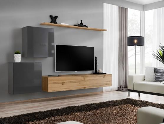 Obývací stěny Obývací stěna Switch (dub wotan/šedá)