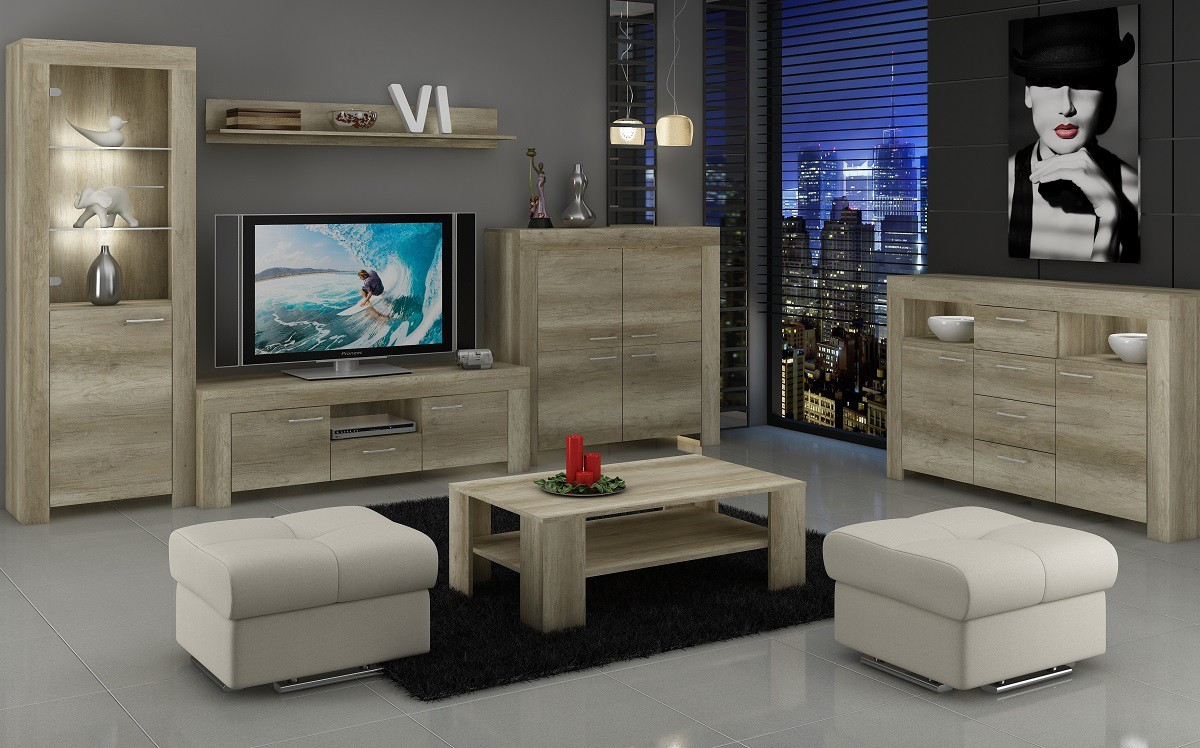 Obývací stěny Sky - Obývací stěna, 2x komoda, RTV stolek, světlo (country šedá)