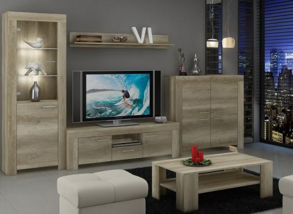 Obývací stěny Sky - Obývací stěna, komoda, RTV stolek, stolek (country šedá)
