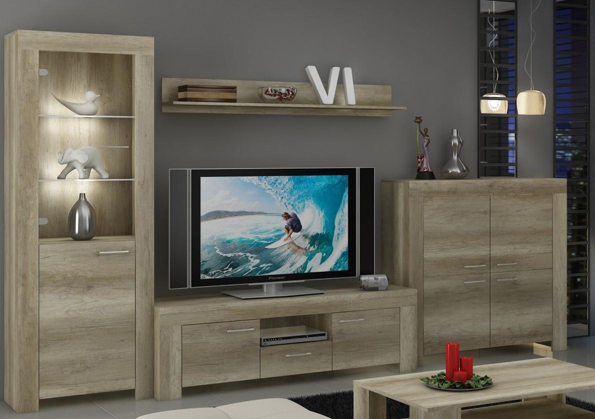 Obývací stěny Sky - Obývací stěna, komoda, RTV stolek, světlo (country šedá)