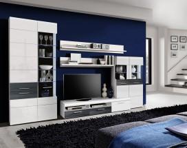 Obývacia stena Cortino bílá, dub černý - II. jakost