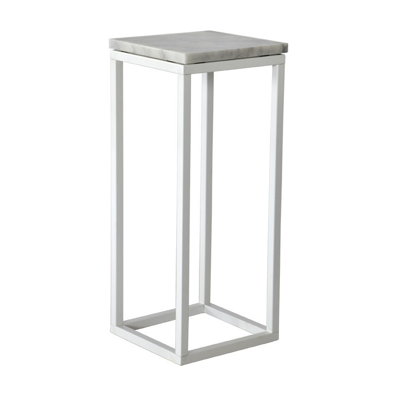 Odkládací stolek Přístavný stolek Accent - čtverec, nižší (mramor, bílá)
