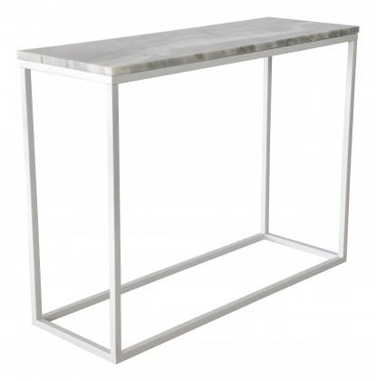 Odkládací stolek Přístavný stolek Accent - obdélník (mramor, bílá)