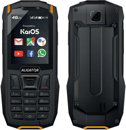 Odolný tlačítkový telefon Aligator K50 eXtremo, KaiOS, oranžová