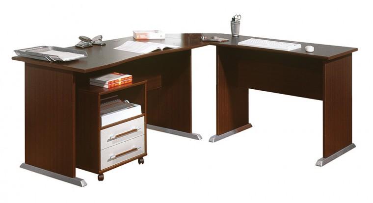 Office - stůl do L, kontejner (wenge)