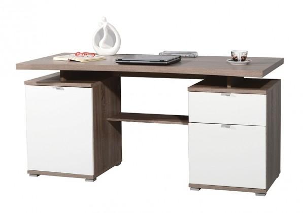 Office - stůl (dub tmavý / bílá)