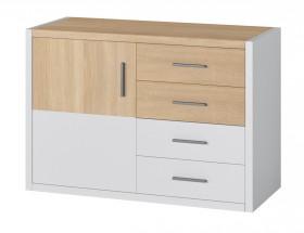 Oslo - Komoda, 4x zásuvky, 1x dveře (dub sonoma/bílá)