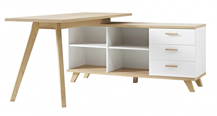 Oslo - Stůl se skříňkou (bílá/dub sanremo)