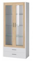 Oslo - Vitrína 2x dveře,police + LED osvětlení (dub sonoma/bílá)