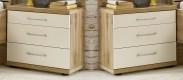 Padua - Noční stolek, 3x zásuvka, 2 ks (dub balken/alpská bílá)