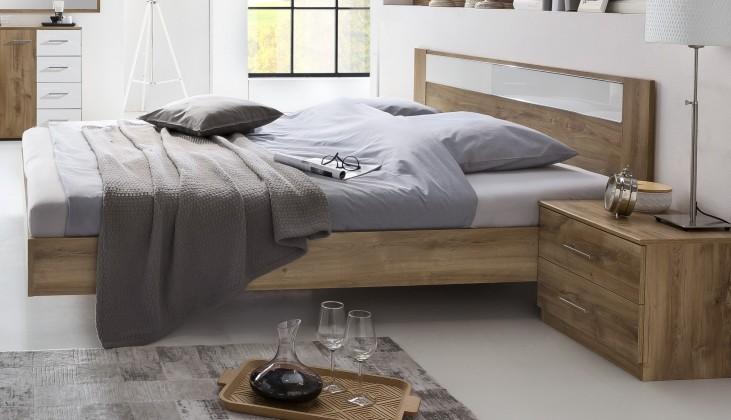 Pamela - Komplet,postel 140x200cm,noční stolky (tmavý dub)