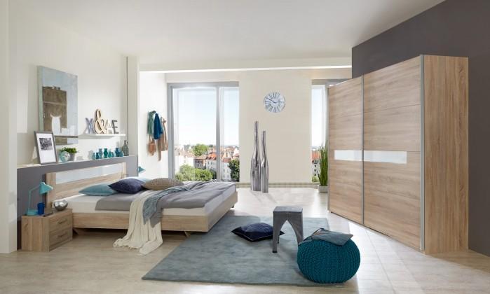 Pamela - Komplet postel 180,skříň 225cm,stolky (dub,sklo,chrom)