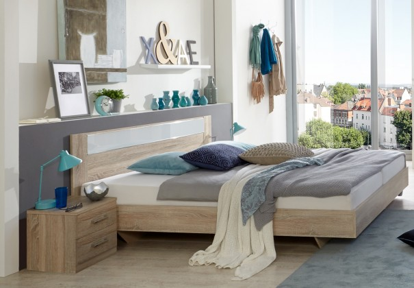 Pamela - Komplet,postel 180x200cm,noční stolky (dub,sklo,chrom)