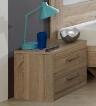 Pamela - Noční stolek 1ks (dub,sklo,chrom)