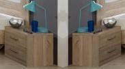 Pamela - Noční stolek 2ks (dub,sklo,chrom)