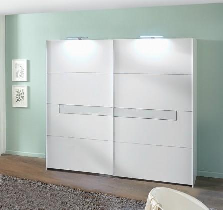 Pamela - Skříň, 2x posuvné dveře, 270 cm (alpská bílá/bílé sklo)
