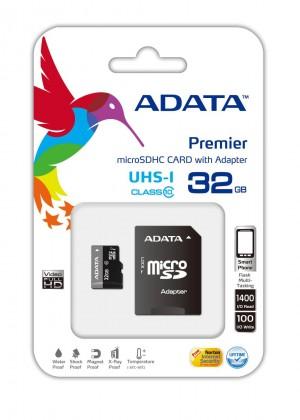 Paměťové karty 32 GB ADATA Micro SDHC Premier 32GB + adaptér AUSDH32GUICL10-RA1