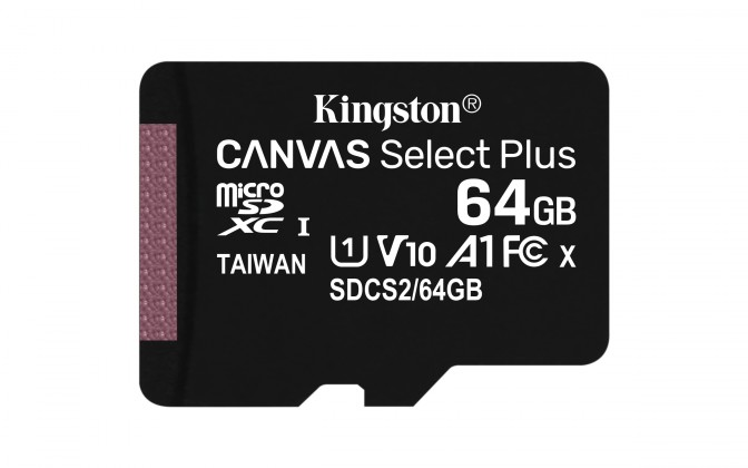 Paměťové karty 64 GB 64GB microSDXC Kingston Canvas Select Plus  A1 CL10 100MB/s