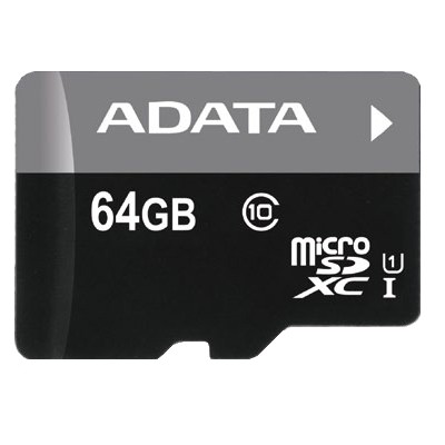 Paměťové karty 64 GB ADATA Micro SDXC Premier 64GB + adaptér AUSDX64GUICL10-RA1