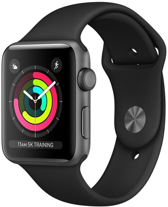 Pánské chytré hodinky Apple Watch Series 3 GPS, 38mm, šedá, sportovní řemínek