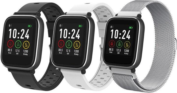 Pánské chytré hodinky Chytré hodinky iGET Fit F3, 3 řemínky, stříbrná