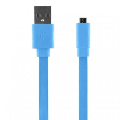 PC kabely Bigben CABLEFLATMICBL - Micro USB kabel plochý 2.1A 1m, modrý