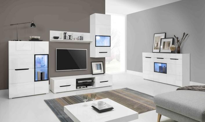 Pedro - Obývací stěna, 2x vitrína, police, komody, světlo (bílá)