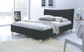 Phily - Postel 200x160, rám postele, rošt (černá/nožky buk)
