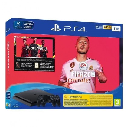 PlayStation 4 1TB-černý-F Chasiss(slim)+FIFA20+extra DS4
