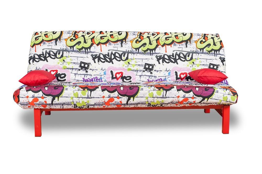 Pohovka Clic Clac-matrace 12cm (red grafitti-hlavní látka/metal-nohy)