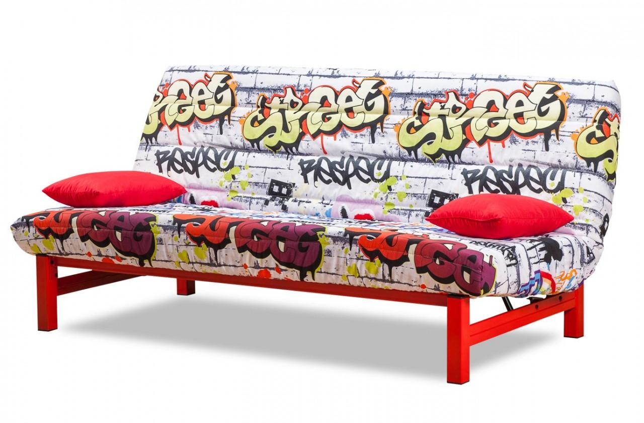 Pohovka Clic Clac-rozkládací (red grafitti-hlavní látka/metal-nohy)