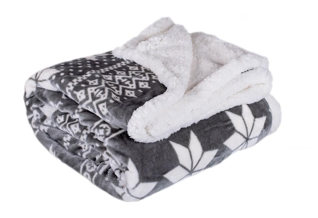 Polštáře a přikrývky Deka s beránkem DB01 (150x200 cm, šedá, zima)