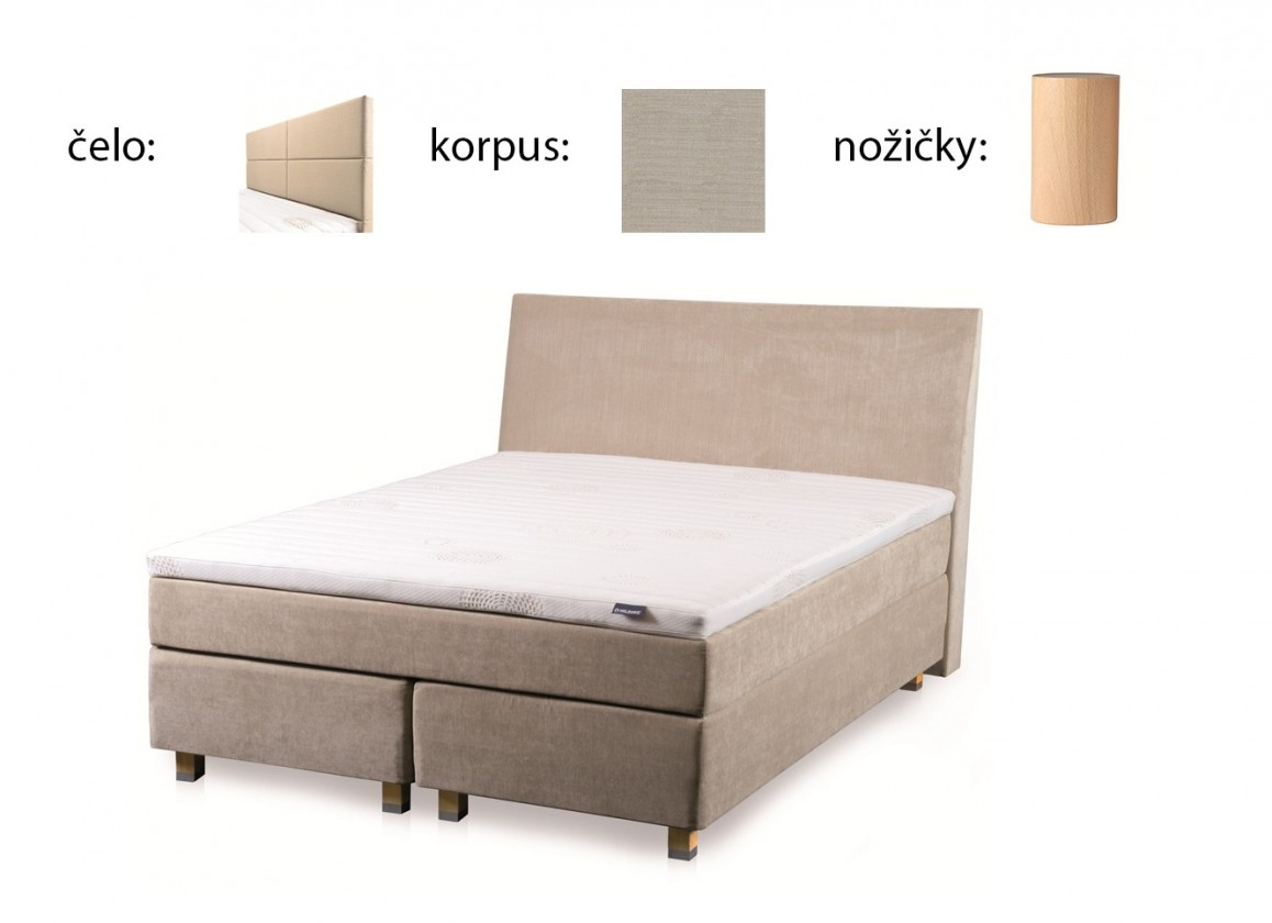 Postel Boxspring Boxbed( 160x200, HB cube 114x160 - papyrus, nohy buk)