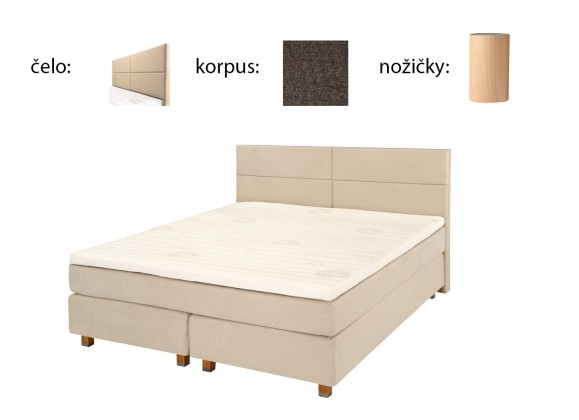 Postel Boxspring Boxbed( 180x200, HB cube 114x180 - anthracite nohy buk)