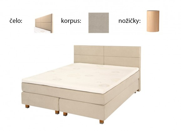 Postel Boxspring Boxbed( 180x200, HB cube 114x180 - papyrus, nohy buk)