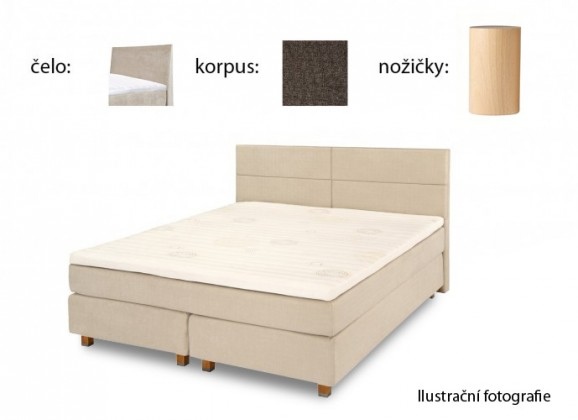 Postel Boxspring Boxbed( 180x200, HB hills 116x180 - anthracite, nohy buk