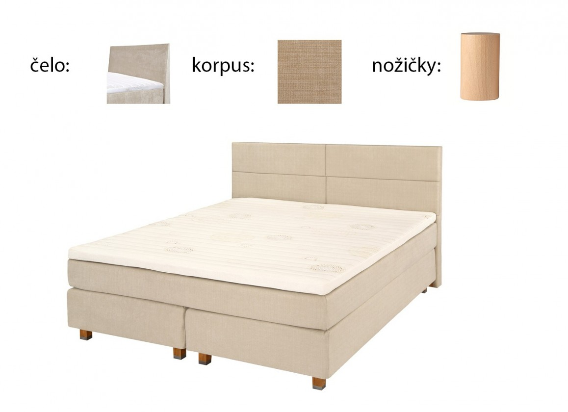 Postel Boxspring Boxbed( 180x200, HB hills 116x180 - camel, nohy buk)