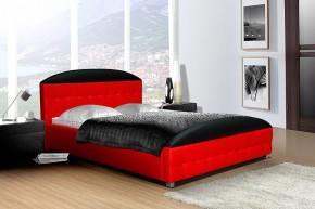 Postel II - červená, matracový rám, úložný prostor