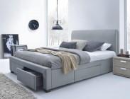 Postel Marion - 160x200, rám postele, rošt, 4 šuplíky (šedá)